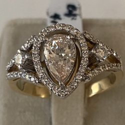 Diamond Ring with Diamond Fancy Rose Pear in Center