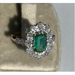 Bague Emeraude colombie avec diamants
