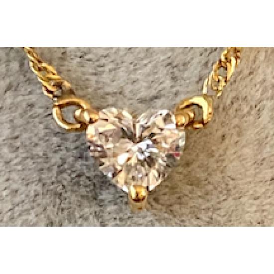 Pendant Heart shape Diamand 0.38ct (F.vs) with Yellow Chaine