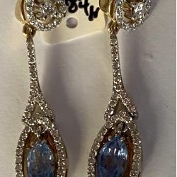Boucles d'oreilles pendant en or avec Saphir et Diamants